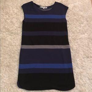 Navy, black, blue striped shortsleeved tunic